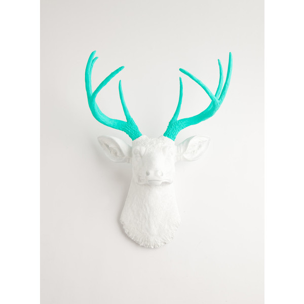 The Oleg - White W/ Turquoise Antlers Resin Deer Head- Stag Resin White Faux Taxidermy   (clipped to polyvore.com)
