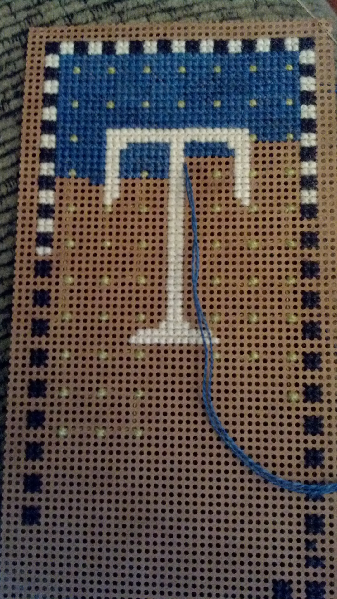 Progress photo: SamSarah's perpetual calendar - Tuesday 12/23/12 Stitched on 14 count perforated paper. Threads: Petite Shimmer, Petite Carbon, Petite Cobalt and Petite Bartlett (2 strands over 1)