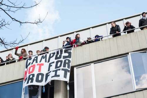 "anarcho-queer:  Students Occupy Sussex University In Protest Against Privatization Around 40-60 students have occupied a conference centre and top floor of a University of Sussex building as ""a last recourse"" to prevent the privatisation of campus services. The occupation follows a demonstration on Thursday when 300 staff and students marched through campus to oppose the outsourcing of catering and estate management services at Sussex. At the end of the protest, a group of 40 students occupied part of Bramber House, where an external event was taking place. A further 20 students joined the occupation over night, according to a Sussex Against Privatisation spokesperson, despite the presence of university and private security staff. The university provoked anger when it announced in May that it was to sell off some campus services, meaning 235 workers will be transferred to private companies from August 2013. Since then it has held meetings with trade unions, staff and students but pressed ahead with the bidding process to find a private partner. Sussex Against Privatisation says the opposition to outsourcing services is strong and that its actions are a ""last recourse… in order to ensure that student and staff voices are heard"". ""We had a large rally yesterday and a solidarity demo this afternoon. But these events aren't just a one-off, there've been boycotts and petitions held throughout the year in opposition to the university's plans. ""While privatisation will have an impact on students' lives in terms of the quality of services, our first concern is the impact this will have on staff – it's their job security that will be put at risk."""