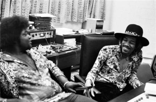 rootsnbluesfestival:  Buddy Miles and Jimi Hendrix recording Electric Ladyland, The Record Plant, NYC