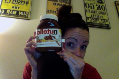 Instead of chicken noodle soup, a sweet boy got me the biggest jar of Nutella I've ever seen!  (Notice the tube of chapstick for size comparison…sorry it's backwards)…wee!  Anyway, back to studying… -_-