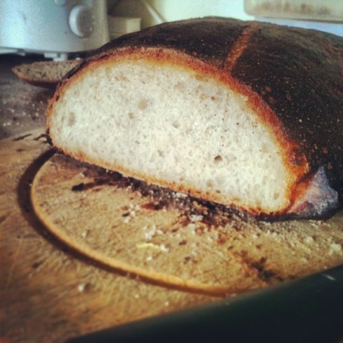 justsomedia:  #sourdough #sourdoughstarter #propercrust a bit dark on the outside but the crust to crumb ratio is almost a perfect 90/10.