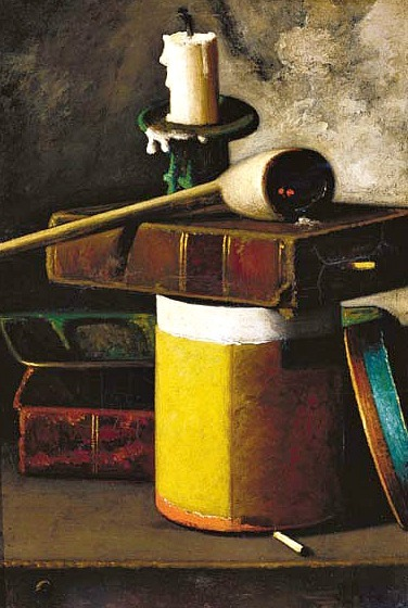 John F. Peto Still Life with Candlestick, Book, Pipe and Tobacco Container 19th century