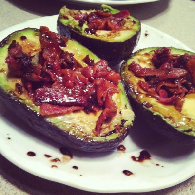 htfspo:  foreverawaitingthesunrise: bacon avocado cups with balsamic glaze 😊🍴 #paleo