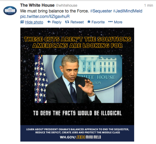 Nice save, @whitehouse social media. ICYMI, the whole Jedi Mind Meld FREAKOUT.