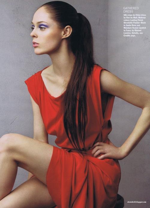 coco rocha Toronto model Fashion model Fashion shoot photo shoot Red dress Long brown hair Ponytail Blue eyeshadow