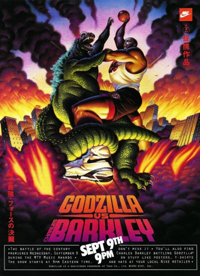 thehmiller:  f-ckyeah1990s:  The battle of the century…   Roach has Godzilla vs. Barkley tshirt.  I certainly do.