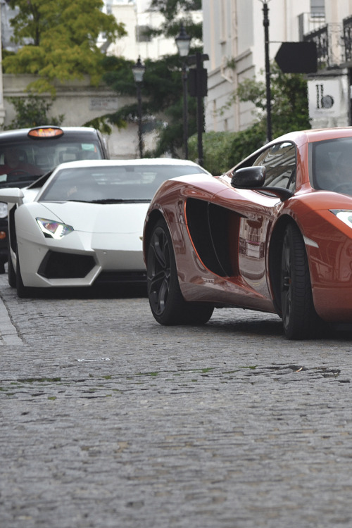 themanliness:  McLaren MP4-12C x Lamborghini Aventador | Source | More