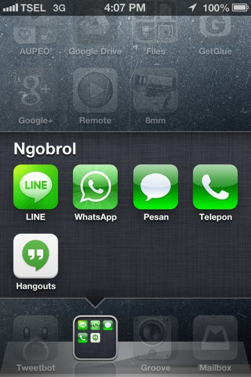 Something about green and white with communication apps.  Screenshot by Yoga Nandiwardhana