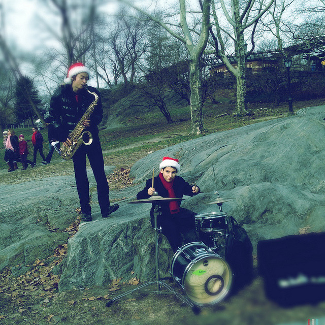 kids playing in central park. christmas eve. on Flickr.Kids playing some Christmas tunes in Central Park.