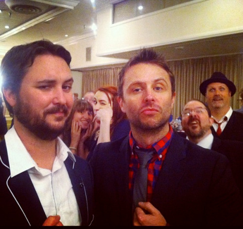fuckkyeahwilwheaton:  ALL THE PHOTOBOMBS  This is me and Hardwick and a whole bunch of my friends at my surprise 40th birthday party.