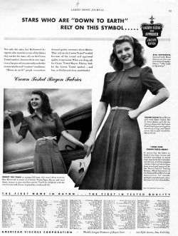 18/30 ads from Rita Hayworth: Rita promoting Rayon Fabrics in 1940.
