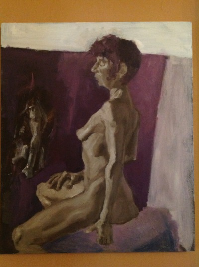 "Grisaille painting about three 3 hour sessions at Art League NY"", second one I ever done"", really helps see value and separate color transitions from value which i think is making my future paintings have better depth in color"""", really interesting practice….maybe more 2 come"