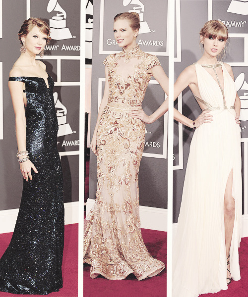 tsvvifts:  Taylor Swift at the Grammys, 2010, 2012, 2013.