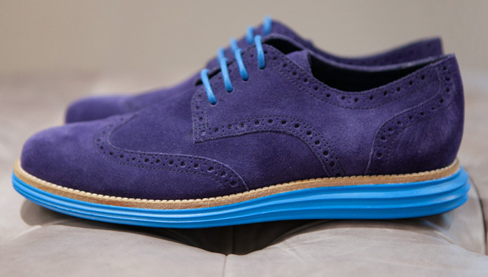 Cole Haan LunarGrand Wingtip in Blue Suede
