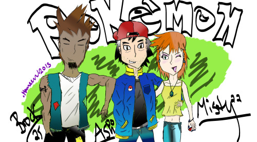 I drew a thing. It's supposed to be Ash, Misty, and Brock ten years in the future, if they aged. Brock looks like Sokka /sobs//. Oh, and let's pretend Ash and Misty are dating now 'cause pokeshipping.