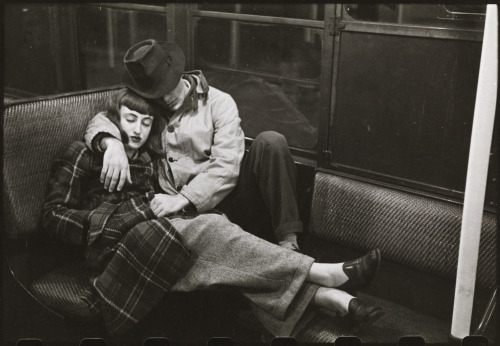 "newyorker:  Stanley Kubrick, ""Life and Love on the New York City Subway (Couple Sleeping on a Subway)"" (1946)/Courtesy collections of the Museum of the City of New York."