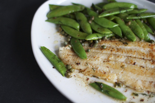 food52:  This white fish dish has a wonderful effort to reward ratio. In just 20 minutes, you'll end up with a dinner worthy of an elegant bistro.  Read more: Butter-Seared Sole with Snap Peas, Dill Capers on Food52  Dinner tonight? It will take just 20 Dollars & 20 Minutes!
