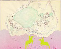mrkiki:  Ryoko Aoki island head (Australia 1) 2006 ink, watercolor, spray paint on paper, collaged 33.5 x 41.8 cm  VIA
