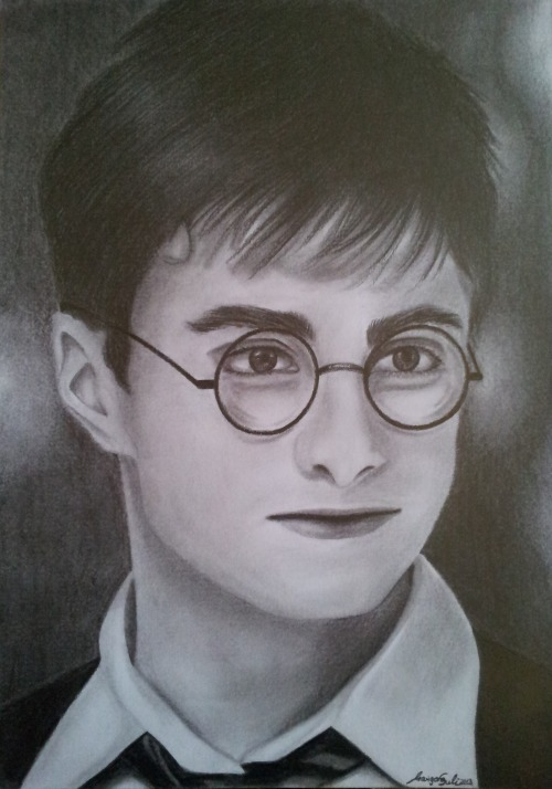 Harry Potter (Daniel Radcliffe)in Harry Potter and the Order of the Phoenix'It is our choices that show what we truly are, far more than our abilities'DIN A4pencils, tissues, tortillons~ 6h  by Marigona Suli