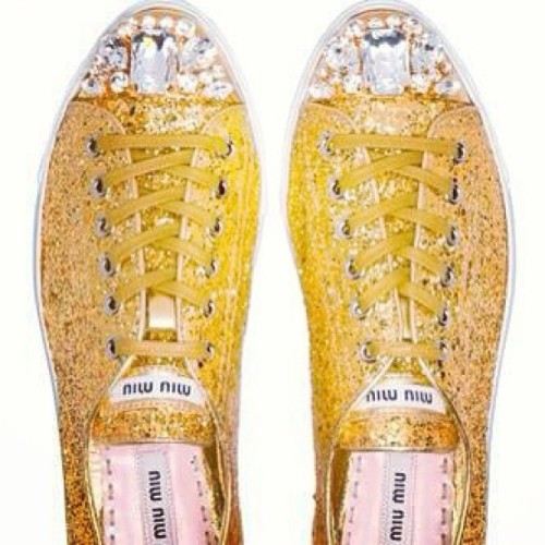 I LOVE THESE #MiuMiu #golden #sneakers #glitter #fashion #sparkle #diamond #bling #glow #trendy #cool #diamond #love 💖💖💕💕