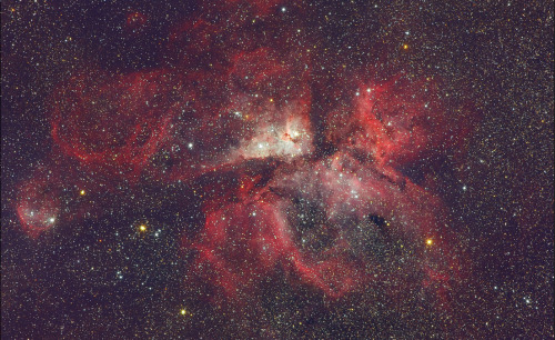 the-star-stuff:  The Eta Carina Nebula NGC 3372, the second brightest nebula in the sky after the great Orion Nebula. This nebula is visible to the naked eye from the South hemisphere and host the hypergiant star Eta Carina, the most likely candidate in our galaxy to become a hypernova. Photographed by Luis Argerich