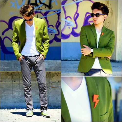 Thunder on my blazer! (by Peter C.)Newest outfit post on the blog, check it out here: http://www.leatherscentblog.com/2013/05/plexy-green.html  With a small accessorie like this orange thunder brooch you can lift up the whole combination!  BLOG: www.leatherscentblog.com FB: www.facebook.com/leatherscent IG: www.instagram.com/inspyro  Love, P.  #outfit #theleatherscent #cool #mensfashion #cool #cutlerandgross #fashionblog