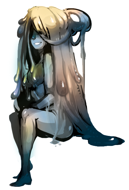 A lazily done slime girl