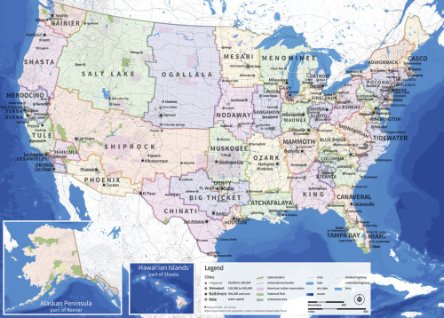 "Amazing Re-designed United States by Neil Freeman ""The fundamental problem of the electoral college is that the states of the United States are too disparate in size and influence. The largest state is 66 times as populous as the smallest and has 18 times as many electoral votes. This allows for Electoral College results that don't match the popular vote. To remedy this issue, the Electoral Reform Map redivides the fifty United States into 50 states of equal population. The 2010 Census records a population of 308,745,538 for the United States, which this map divides into 50 states, each with a population of about 6,175,000."""