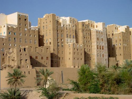 "historical-nonfiction:  Shibam, a town in Yemen, is considered to have the world's oldest skyscrapers. It has about 7,000 inhabitants and all of the town's houses are made out of mud bricks. Some of these houses rise 5 to 9 stories high. It protected residents from Bedouin attacks. While Shibam has existed for around 2,000 years, most of the city's houses come mainly from the 16th century. Shibam is often called ""the Manhattan of the desert""."