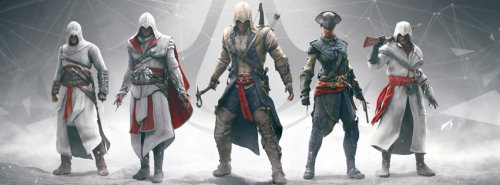Assassin's Creed anniversary group shot, featuring Nikolai Orelov (far right), created by me and Karl Kerschl. Pretty proud that our character is considered important enough to stand with the rest.