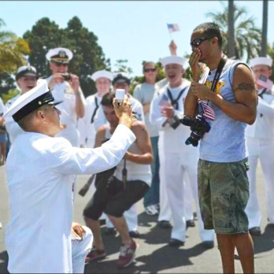 freedomtomarry:  Click the heart and re-blog this photo to congratulate Navy Senior Chief Dwayne D. Beebe and his husband Jonathan Franqui, who married in MD in January! Then check out 17 photos that chronicle their love story: http://bit.ly/XW2xGD  Congrats!