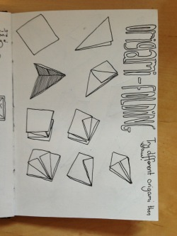 Origami Sequential Illustration - shows initial idea and experimenting with use of colour, more precise and confident marks on the page with minimal use of colour