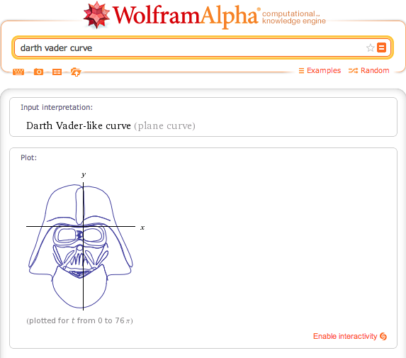 wolframalpha:  We've turned celebrities, fictional characters, animals, and logos into curves, laminae, and equations! There are many to find!