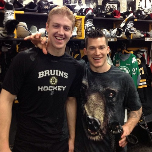 "Quite the ""Bruins"" shirt on Andrew Ference in the locker room earlier… #nhlbruins #bearclaw"