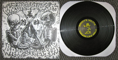 Brody's Militia/Widespread Bloodshed - split (Sound Pollution 2003) Fuck. This record is insane.   Brody's Militia starts things of with super fast hardcore punk.  Thrash if you will.  Their side is bookended with two GG Allin covers, so I was sold before I even listened to them.  They are fucking awesomely done.  The rest of the side is insanely fast hardcore, as I mentioned already.  They are members of Hellnation, so they sound like them, just more punky.  I saw theses guys once in my friends garage, around the time this came out.  They fucking destroyed.   Widespread Bloodshed bring it.  If BM's side is awesome, WSBS (WB?) is fucking  ignorant.  Like it's kind of stupid how fucking fast this band is.  But they are fast, but have this killer guitar tone so you hear all the riffs clearly, rather than just a blur of distortion (which isn't bad don't get me wrong).  I have their split with Massgrav, which is equally as fast, but I haven't listened to that in a while.  I'm seriously speechless, but this band is unreal.   Great record.  Also look at the cover! So awesome.   -Log.