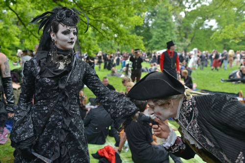 Goths @ Wave Gotik Treffen in Leipzig. Photo by Hendrik Schmidt / DPA.That embarrassing moment when you forget that the world's largest Goth festival is currently underway.  Here are all the bands we're missing.  Press coverage:Leipzig hüllt sich in Schwarz und SpitzeEs ist wieder düsterWave-Gotik-Treffen in Leipzig hat begonnen