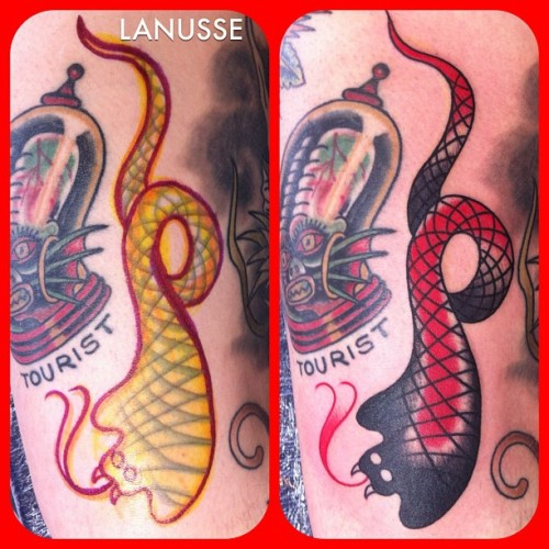 Black cobra. Right next to a Stuart Cripwell tattoo. No pressure. #tattoos #traditional #cobra #serpentsociety  (at Infinity Tattoo)
