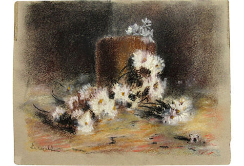 "Small unframed pastel drawing of white daisies. Signed in pencil lower left. 6.35"" L x 5"" H Sold by Ruby + George on One Kings Lane Vintage and Market Finds"
