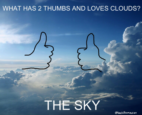 What has 2 thumbs and loves clouds?