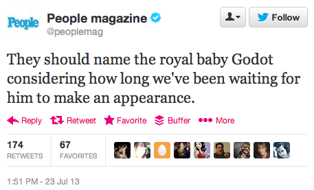 Dear People Magazine:This is way too clever for you.