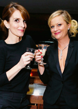 Tina Fey and Amy Poehler during their private Golden Globes afterparty at the Soho House on January 13, 2013.