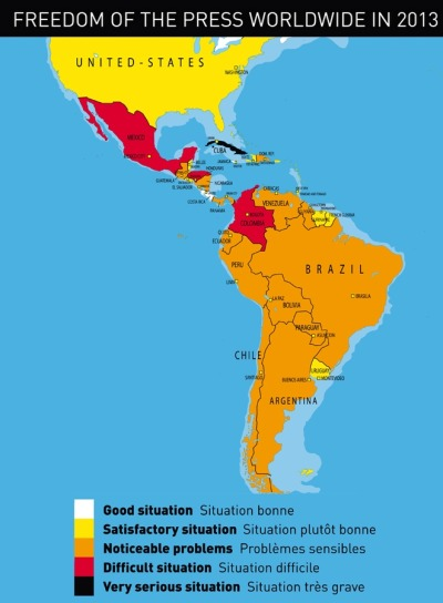 "The press freedom situation in the Americas fjp-latinamerica:  Reporters Without Borders just released their annual Press Freedom Index [PDF], along with this map. The annual global indicator can also be broken down by region and, by means of weighting based on the population of each region, can be used to produce a score from zero to 100 in which zero represents total respect for media freedom.  This produces a score of 17.5 for Europe, 30.0 for the Americas, 34.3 for Africa, 42.2 for Asia-Pacific and 45.3 for the former Soviet republics. Despite the Arab springs, the Middle East and North Africa region comes last with 48.5. Here are some of the key findings concerning our region: Jamaica and Costa Rica are the highest ranking country from the Americas, just ahead of Canada, the western hemisphere's traditional leader.  On the other hand, Cuba is still at the bottom, next to the usual underachieving countries: Syria, Iran, China, Sudan, Yemen, and the like.  Mexico is one of the biggest disappointments, largely due to the high number of journalists and netizens killed therein. That ratio is similar to that of Somalia, Syria, and Pakistan.  Argentina fell amid growing tension between the government and certain privately-owned media about a new law regulating the broadcast media. Chile is beginning to recover after plummeting 33 places in last year's index (student protests). A lack of pluralism, intermittent tension with the political authorities, harassment and self-censorship are the main reasons for the scant change in Nicaragua, Guatemala and Panama, where attacks on journalists tripled in the space of a year, local unions said.  Brazil, South America's economic engine, continued last year's fall because five journalists were killed in 2012. Its media landscape is also badly distorted. Heavily dependent on the political authorities at the state level, the regional media are exposed to attacks, physical violence against their personnel, and court censorship orders, which also target the blogosphere. Paraguay fell eleven places in the rankings after its President's removal in a parliamentary ""coup"" on 22 June 2012, which had a big impact on state-owned broadcasting along with a wave of arbitrary dismissals against a backdrop of unfair frequency allocation. In general, Uruguay, Portugal, Spain, El Salvador, Haiti, the United States and the Dominican Republic have been doing fairly good lately. In contrast, Peru, Bolivia, Venezuela, Colombia, Ecuador and Honduras, delivered bad news this year (as expected).  Read on for the full regional analysis. FJP: We at the Future Journalism Project have been reporting on these issues for the last few months, hence the popularity of press freedom as a frequent discussion topic in these pages. So, please go ahead and follow us on Twitter. Image: Adjusted partial screenshot of Freedom of the Press 2013 Map, via Reporters Without Borders."