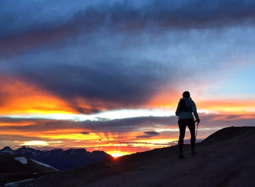 Spirits soar as the sunsets from Engineer Pass on the Hardrock 100 course.Photo: Gretchen Brugman