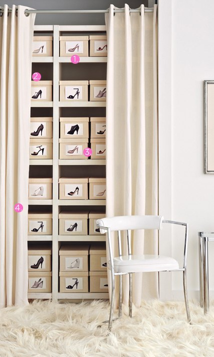 Shoe Library (http://www.luckymag.com) 1. BOOKCASE Repurpose a standard open bookcase as a shoe rack. Make sure the shelves are at least a foot deep to accommodate the average shoe box. (Boot boxes are about twice that size and can be shelved sideways.)  2. MATCHING BOXES Stored in identical boxes in a calming hue, your eclectic shoe collection takes on a Zen-like order.  3. CAMERA The fastest way to find the pair you're looking for: Label the outward-facing end of each shoe box with a snapshot of the pair inside. (Shoot flats from above and heels in profile.) 4. CURTAINS AND ROD It's a grown-up take on that old college trick: Just hide your stuff behind a curtain—in a weighty fabric, it's surprisingly chic.