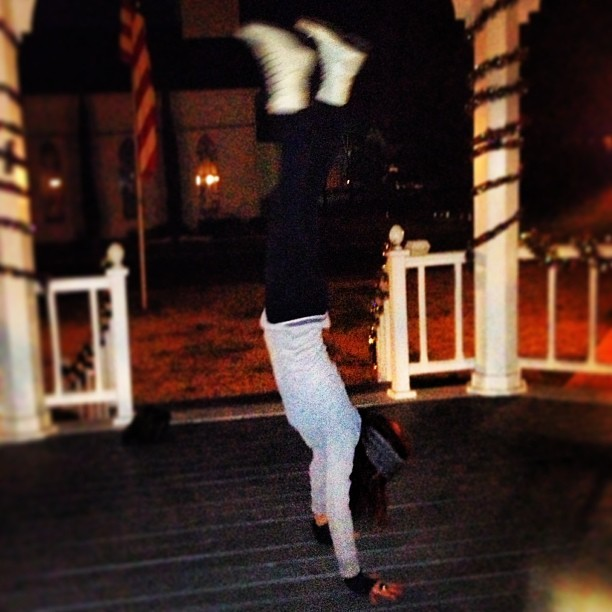 Working on my handstands. The hardest part is taking the picture since I'm not yet past a 5 second stand…. Handstyle.