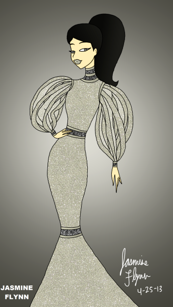Silver Glitter Gown. a digital drawing by me, Jasmine Flynn :)
