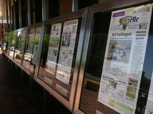 The front page of The Billings Gazette is featured at the Newseum in Washington D.C.