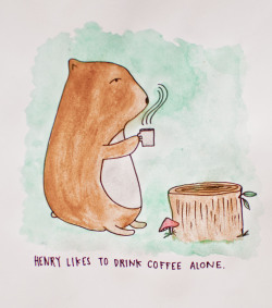 dearestamber:  henry, the bear, likes to drink coffee alone.
