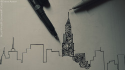 I intended  to make the skyline of the city where I want to be. It wasn't yet complete and I just lost my sketchbook. This is what it looked like.